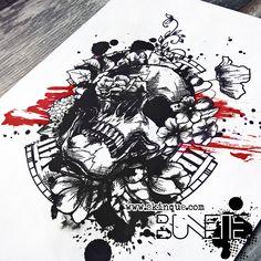 Skull trash polka clock flower rose poppy bunette