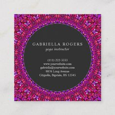 Shop Pink and Purple Flower Mandala Square Business Card created by ZyddArt. Elegant Business Cards, Business Card Design, Print Templates, Card Templates, Pink And Purple Flowers, Print Design, Graphic Design, Flower Mandala, Graphics