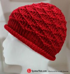 Diamond Brocade Beanie made on a Round Knitting Loom. The texture of this awesome stitch pattern is classy. Love this look of this hat