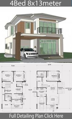 Home Design Plan with 4 Bedrooms. - Home Ideas - Home Design Plan with 4 Bedrooms. – Home Design with Plansearch - {hashtag} Two Story House Design, 2 Storey House Design, Bungalow House Design, Small House Design, Modern House Design, Design Your Home, Duplex House Plans, House Layout Plans, Family House Plans