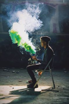 my friend tommy ly with a smoke bomb