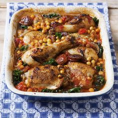 If you're short on time, give Davina McCall's chicken with chorizo, chickpeas and kale recipe a go - its a quick and easy one-pot dish