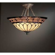 Tiffany Ceiling Lamps   ... Lighting 69048 3-Light Dunsmuir Art Glass Semi-Flush Ceiling Light