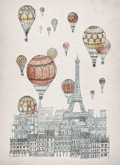 Voyages Over Paris Art Print