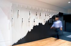 Collaborating with WMK Architecture, the timeline's purpose was to chart the historical and financial history of the ASX, and support the refurbishment of the ASX headquarters in Sydney. Historical and contextual information supports the large scale financial chart across tabbed blades of alternating height