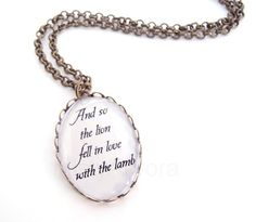 Twilight Saga Quote Pendant And so the Lion Fell in by MistyAurora, $18.00