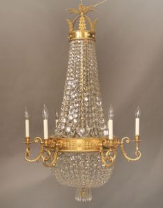 A Stunning Late Century Gilt Bronze and Crystal Russian Style Fourteen Light Basket Chandelier Baccarat Chandelier, Chandeliers, Antique Brass Chandelier, Baccarat Crystal, Chandelier Lighting, Russian Fashion, Russian Style, Antique Market, Interior Lighting