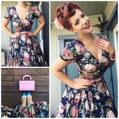 Pin up Dresses Archives - Rockabilly Clothing Store Looks Rockabilly, Mode Rockabilly, Rockabilly Fashion, 1950s Fashion, Vintage Fashion, Rockabilly Dresses, Moda Fashion, Lolita Fashion, 50s Dresses