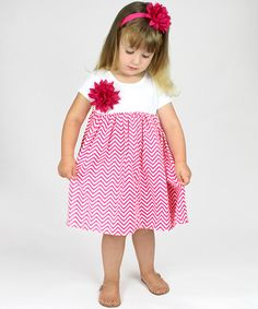 Take a look at the Truffles Ruffles Pink Zigzag Babydoll Dress & Headband - Infant & Toddler on #zulily today!