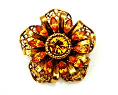 Vintage Amber orange Gold Filligree by serendipitytreasure on Etsy, $28.00