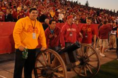 The cannon, operated by members of the Alpha Sigma Phi fraternity, is traditionally fired after every Cyclone touchdown or field goal!
