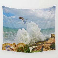 Balanced Arrival Wall Tapestry by crismanart Wall Tapestries, Wall Hangings, Tapestry, Outdoor Walls, Indoor Outdoor, Tablecloths, Hand Sewn, Vivid Colors