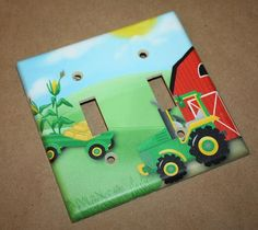 Big Green Tractor Boys Bedroom Double Light Switch by ToadAndLily, $12.00