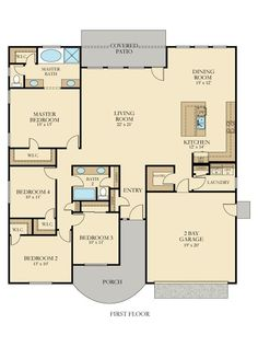 Radcliffe New Home Plan in Summerlyn - Cambridge Collection Small House Floor Plans, New House Plans, Dream House Plans, Master Room, Ranch Style Homes, House Blueprints, Cabin Plans, Farmhouse Plans, Home Design Plans