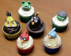 Angry Birds Cupcakes  Fun cupcakes inspired by the popular video game Angry Birds.