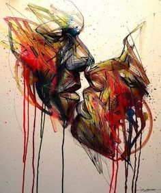 """The Kiss"" by Hopare, Street Art in London Town. LO"