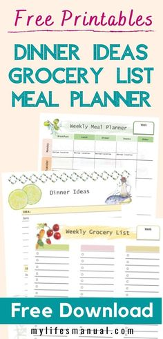 Free Weekly Meal Planner with a Grocery List, Instant Pot Recipes and a Simple Meal Planning PDF Guide Weekly Meal Plan Template, Menu Planning Printable, Budget Meal Planning, Weekly Menu, Food Budget, Printables, Printable Templates, Healthy Weekly Meal Plan, Low Carb Meal Plan