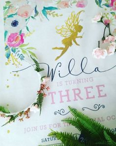 Fairy party tea towel invitations   #teatowelinvite #invitation #fairyparty #birthdayevent #specialevent #flowercrowns