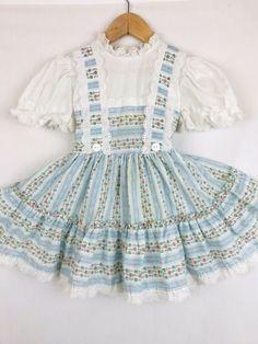 da27febed8 Vintage Baby Toddler Girls Dress Full Circle Eyelet Lace Apron Front Floral  3 4T