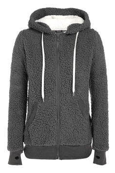 ACEVOG Ladies Womens Soft Teddy Sherpa Fleece Hooded Jumper Hoody Jacket Coat -- Click image for more details.