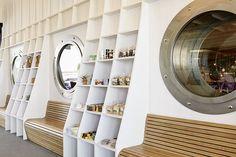Souvenir Shop in the ticket hall of Schweizerische Bodensee Schifffahrt Gesellschaft, Hafen Romanshorn, Retail Design Susanne Fritz Architekten, Photo © Pierre Kellenberger