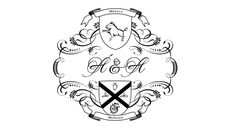 Wedding monogram featuring the the coat of arms from 'Meally' and 'Hugh'. Letterpress printed in black ink on ivory paper. Wedding Logos, Wedding Signage, Monogram Wedding, Card Envelopes, Letterpress Printing, Coat Of Arms, Monograms, Thank You Cards, Initials