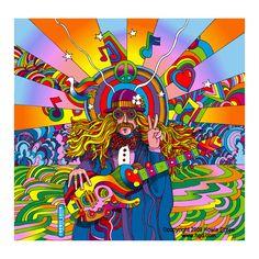 Hippie Musician - Psychedelic Pop Art by Howie Green