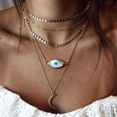 Kei Jewelry / Stone / Necklace / Layered / Looks / Bijoux / Id& / Dor& / Collier / Gold / Or / Fashion / Women Boho Jewelry, Jewelry Box, Jewelry Necklaces, Fashion Jewelry, Jewlery, Boho Necklace, Jewelry Trends, Evil Eye Necklace, Cheap Jewelry