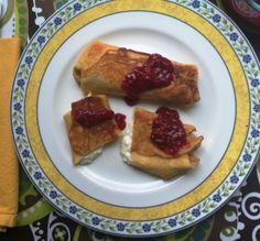 Fruit and Cheese Blintzes from Katie Workman/themom100. #easyhomemeals. @easyhomemeals If you've never given homemade blintzes a try, you may have a new favorite on your hands.  Made from simple ingredients you probably have in the refrigerator right now!