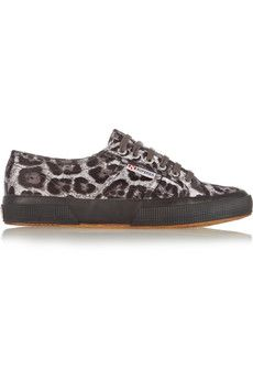 Superga Leopard-print satin sneakers | THE OUTNET