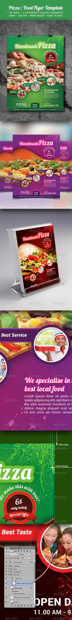 Pizza / Food Flyer Template #design Download: http://graphicriver.net/item/pizza-food-flyer-template/8646219?ref=ksioks