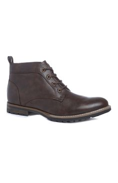 Dark Brown Lace-Up Boots