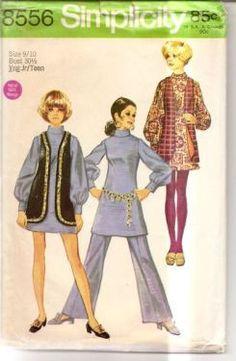 Simplicity 8556 Vintage Sewing Pattern Teen Mini Dress Vest Pants   VintageStitching.com