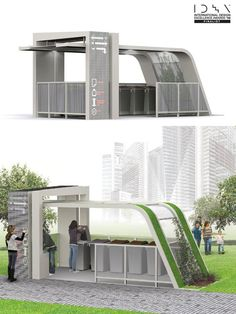 Green Architecture, Landscape Architecture, Landscape Design, Architecture Design, Urban Furniture, Street Furniture, Bus Stop Design, Bus Shelters, Shelter Design