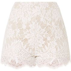 Ellena White Lace Shorts ($23) ❤ liked on Polyvore featuring shorts, white lace shorts, lacy shorts, lace shorts and white shorts