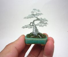 Tiny Bonsai Tree Sculptures Made of Wire by Ken To