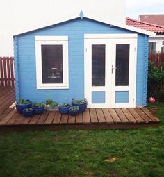 Jean painted her mini log cabin studio in blue and white and she will be using it as an entertaining space. Garden Log Cabins, Garden Buildings, Garden Office, Sheds, Living Spaces, Garden Ideas, Blue And White, Outdoor Structures, Entertaining