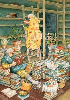 Artist Inge Look Old Lady Humor, Image Originale, Reading Art, Fun Illustration, World Of Books, I Love Books, Whimsical Art, Oeuvre D'art, Belle Photo