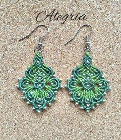micro macrame earrings by Alegriamia on Etsy