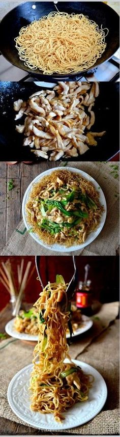 Pan-Fried Noodles with Chicken Recipe, 鸡丝炒面