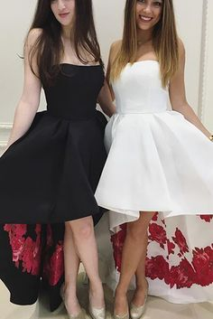 Prom Dresses For Teens, Strapless High Low Black Prom Dress Formal Evening Dress White Prom Dress Short prom dresses and high-low prom dresses are a flirty and fun prom dress option. Floral Prom Dresses, Strapless Prom Dresses, Prom Dresses For Teens, Black Prom Dresses, A Line Prom Dresses, Homecoming Dresses, Dress Prom, Dress Black, Party Dresses