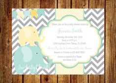 Blue and Yellow Elephant Baby Shower by InvitesByChristie on Etsy, $12.00