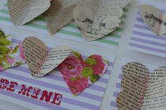 the girl is craftee: DIY Valentine cards using hearts from vintage books