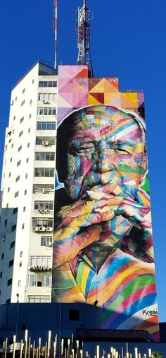 São Paulo, Brasil. - Amazing Street Art & Graffiti (Mural) by the Artist #KOBRA; of the greatest of Brazilian Architects, Oscar Niemeyer.  This is from the Avenida Paulista area near downtown São Paulo. Wherever I am in the city...you find incredible pieces of work. Original photography from R. Stowe.