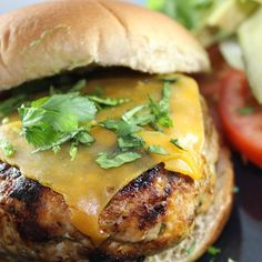 "Chicken Cheddar and Guacamole Burgers I ""This is the first time I have used ground chicken in a burger without the addition of another protein added to it. We LOVED these! They were juicy & all the flavors worked perfectly together!"""