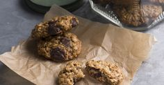 Banana Chocolate-Chip Oat Cookies from Plant-Based Cookbook. These plant-based, vegetarian cookies make the perfect snack. Oats and bananas are great sources for slow-release energy, so these biscuits make a great afternoon pick-me-up!