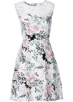 Jetzt anschauen: Bei wärmeren Temperaturen bist du mit diesem Kleid der Marke RAINBOW stylish gekleidet. Das kurze Kleid ist am Ausschnitt mit modischer Spitze geschmückt und mit einem hübschen Alloverprint bedruckt. Das ausgestellte Rockteil fällt locker um das Bein.    Trendige Sandaletten mit Keilabsatz harmonieren perfekt mit diesem tollen Kleid mit hohem Rundhalsausschnitt.