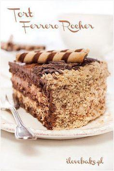Ferrero rocher cake, the best recipe- Tort ferrero rocher, najlepszy – przepis cake Ferrero Rocher - Nutella, Sweet Recipes, Cake Recipes, Raspberry Smoothie, Salty Cake, Köstliche Desserts, Polish Recipes, Savoury Cake, Something Sweet