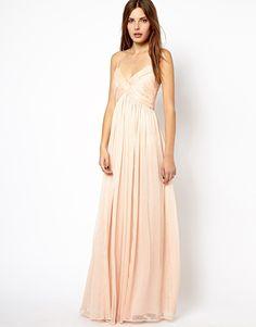 Mango Chiffon Ruch Maxi Dress, blush bridesmaid dress.