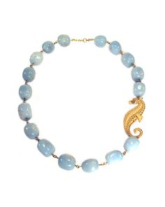 Leala Way Back Then Necklace - amazonite and brass seahorse